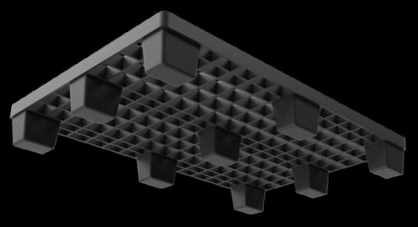Under Side 3D Render of Black Nestable Plastic Pallet
