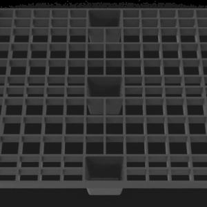 Front 3D Render of Black Nestable Plastic Pallet