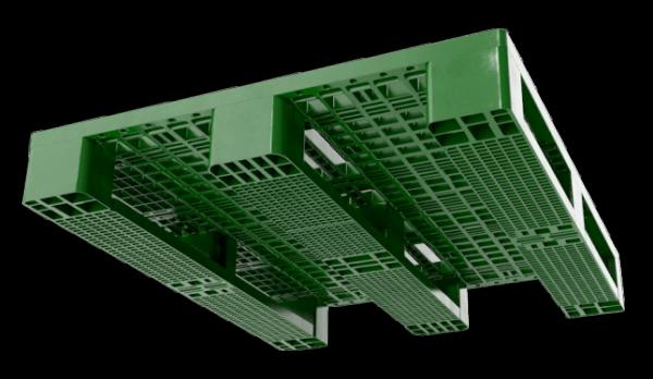 Under Side 3D Render of Green Stackable Plastic Pallet