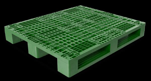 Top Side 3D Render of Green Stackable Plastic Pallet